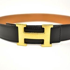 HERMES: Black/Brown Reversible Leather H Belt (un)